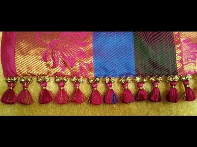 How to make Saree tassels.kuchu design with small beads