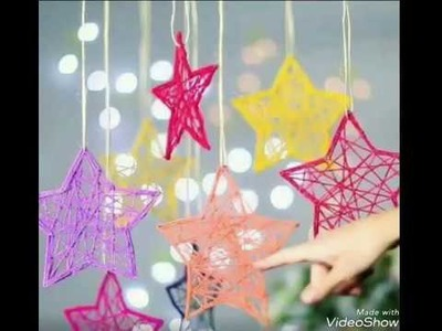 How to make stars for decoration# using thread# star hangings
