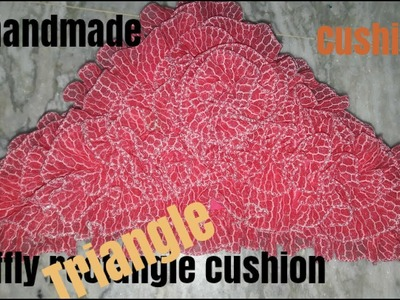How to Make triangle ruffly design cushion cover make at home in easy way. Diy decorating cushion.