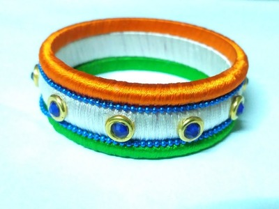 Independence day special. Instant Tri color Silk Thread Bangle Making Tutorial. DIY Bangle