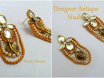Latest Design Kundan Studs | How to make Designer Studs Using Kundans | DIY | www.knottythreadz.com