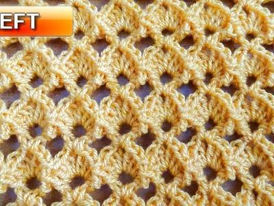 Marshmallow Shell Crochet Stitch - Left Handed Crochet Tutorial