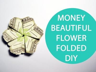 Money Beautiful Flower Origami Folded Dollar Tutorial DIY No glue