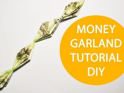 Money Garland Origami Dollar Tutorial DIY Decoration for Christmas tree