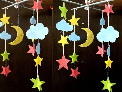 Paper made wall hanging moon star for kids - How to make Moon & Stars out of paper