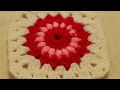 Starburst Granny Square Crochet - How to crochet Starburst Granny Square - Sunburst Granny Square