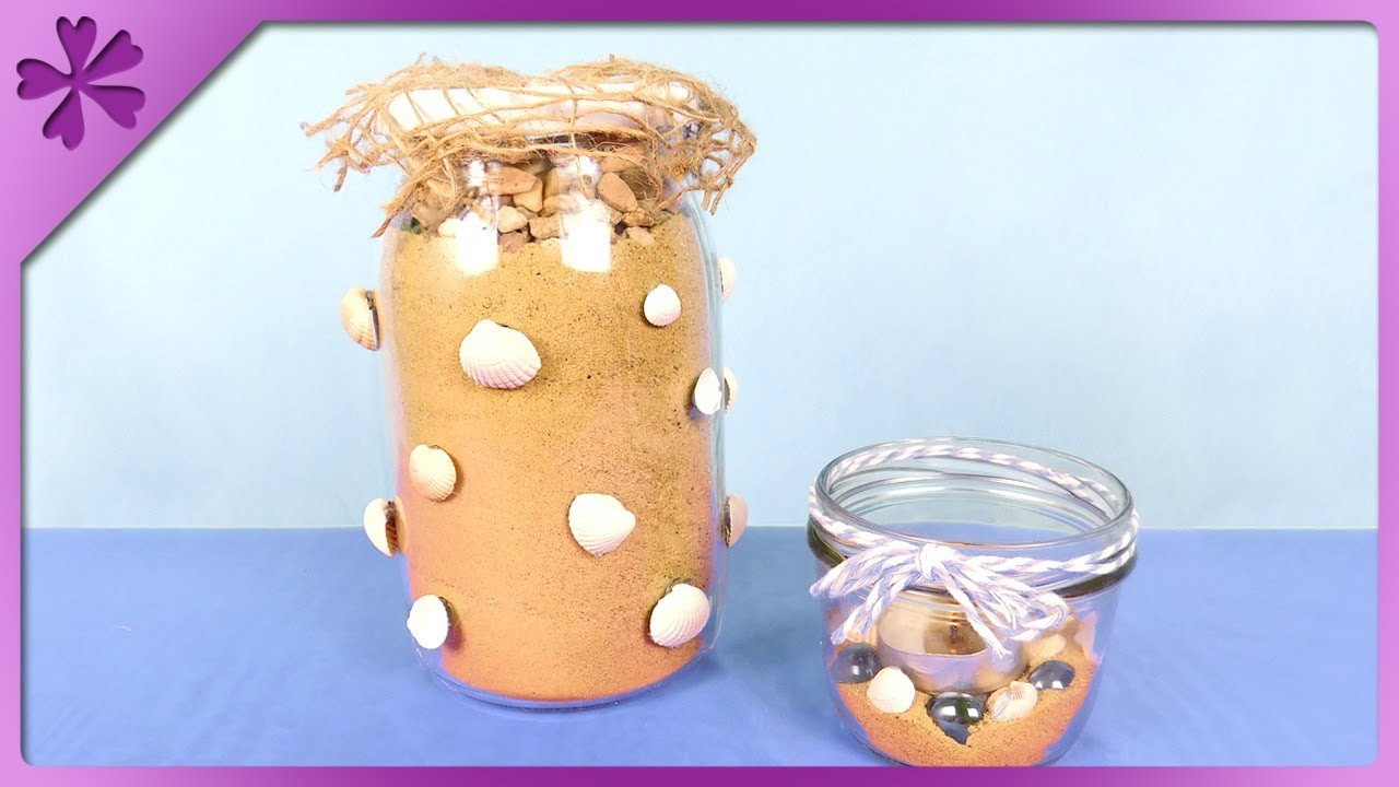 DIY How to make candle jar and coin bank with sand and seashells (ENG Subtitles) - Speed up #380