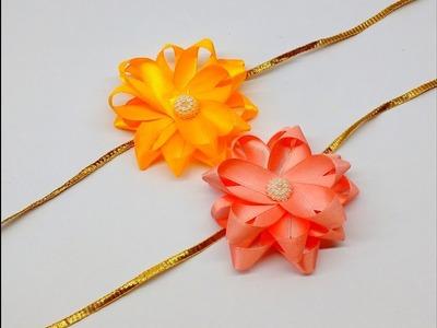 Diy How to make Easy Ribbon Double Flower Rakhi at home