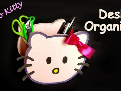 DIY- How to make HELLO KITTY pen stand.pencil holder. desk organiser from paper? Kids craft ideas.