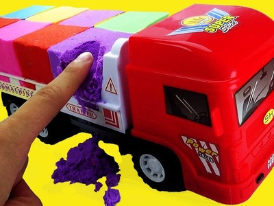 DIY How To Make Kinetic Sand Rainbow Mad Mattr Truck Car Toy ToTo Baby Doll  - Learn Colors for Kids