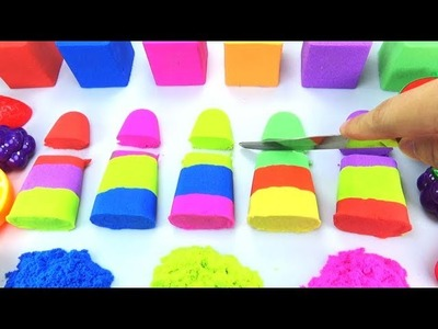 DIY How to make Kinetic Sand Rainbow Fruit Ice Cream Mad Mattr Skwooshi - Learn Colors for Kids