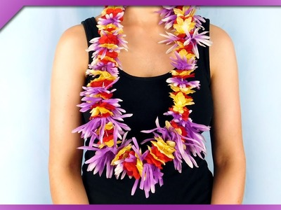 DIY How to make lei, Hawaiian garland out of artificial flowers (ENG Subtitles) - Speed up #381