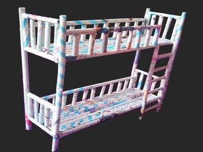 DIY | How to make Newspaper Doll Furniture Unpainted Bunk Beds | Paper Quilling Art