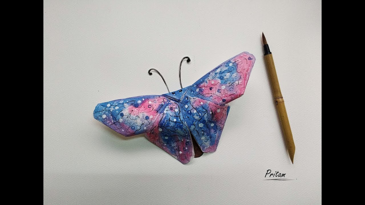 DIY - How to make & paint a Paper Butterfly  (Origami + Watercolor Painting,  easy and step by step)