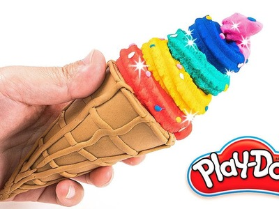 DIY How to Make Play Doh Ice Cream Rainbow Waffle Cone Food Modelling Clay for Kids Children