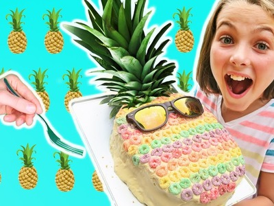 DIY How To Make Rainbow Pineapple Cake Chef Ava Learn Colors Decorate Food Kids Cooking and Crafts