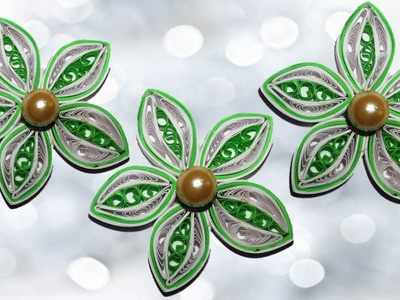 DIY Quilling Made Easy:How to make Beautiful Quilling Green.White Flower design -Paper Art Quilling