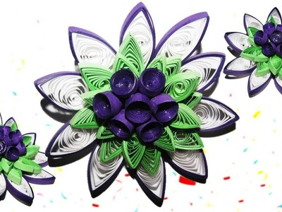 DIY Quilling Made Easy:How to make Beautiful Purple Green Quilled Flowers - How to make tutorial