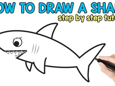 How to Draw a Shark Step By Step - tutorial with free printable