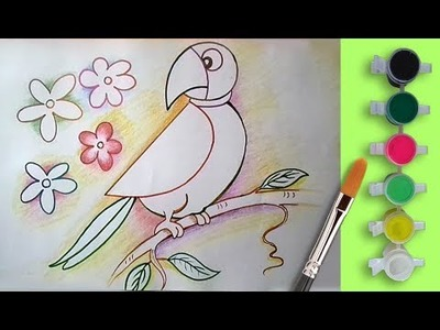 How to Draw and Coloring a Parrot Step by Step with Colouring Pages for Children