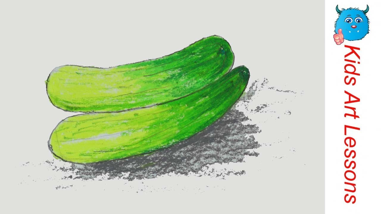 How To Draw Cucumbers Easy Step By Step Vegetables Drawing In Pastel