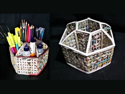 How to  make a Desk Organizer using newspaper and cardboard.  DIY desk organizer