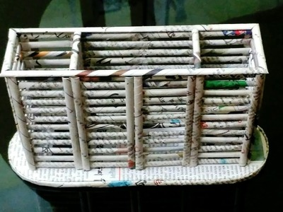 How to make a newspaper pen.pencil holder. spoon holder. kitchen organizer (easy tutorial)