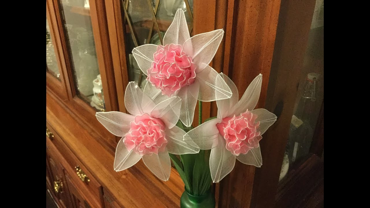 How to make a nylon stocking flowers - rosy clouds diffodill.2
