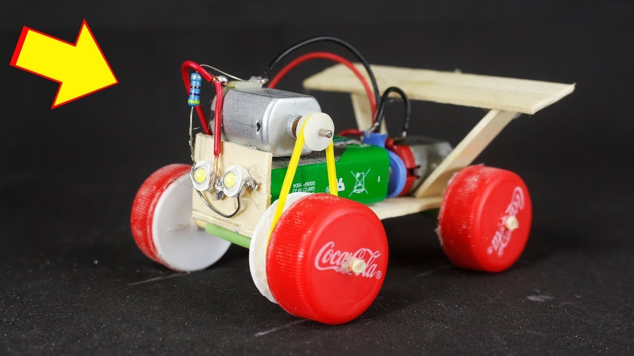 How to Make a Race Car Toy Run by Pin with Popsicle Sticks and Bottle Caps - Drift Car - DIY Crafts