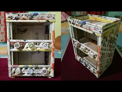 How to make a stationary. Desk Organizer using cardboard and news paper ( Magazine )