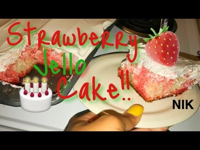 How To Make A Strawberry Jello Cake!! (COOKING WITH NIK)
