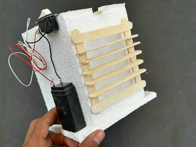 How To Make An Air Cooler At Home Using Thermocol, Popsicle Sticks And DC Motor