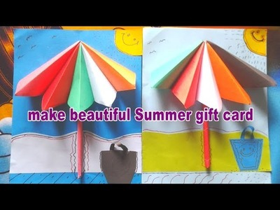 How to make beautiful summer gift card for kids| using color paper  | make easy