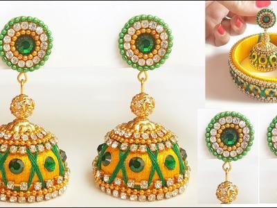 How to make Bridal silk thread Jhumkas at home.  jhumkas with bangles combination