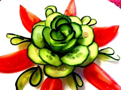 HOW TO MAKE CUCUMBER FLOWER - CARROT ROSE - ART IN CUCUMBER DESIGN GARNISH & VEGETABLE CARVING
