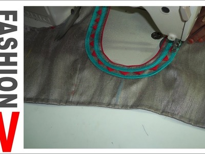 How to make Designer Blouse at Home-63  blouse neck piping  easy method  thread piping in blouse