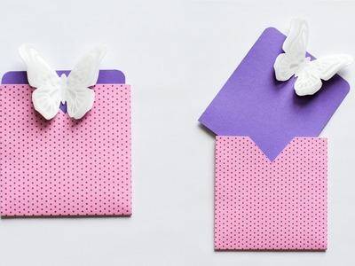 How to make : Easy Card with Butterfly Envelope   Kartka z Motylem Koperta - Mishellka #234 DIY