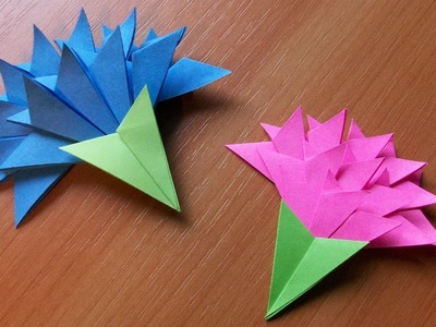 How To Make Easy Paper Flowers For Greeting Card Handmade Decoration. Origami Carnation