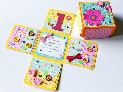 How to make : Exploding Box First Birthday | Eksplodujące Pudełko Urodziny - Mishellka #240 DIY