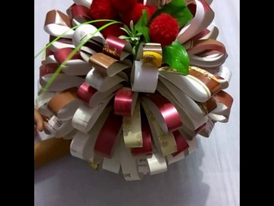 How to make flower pot with waste invitation cards with pooja chaudhary