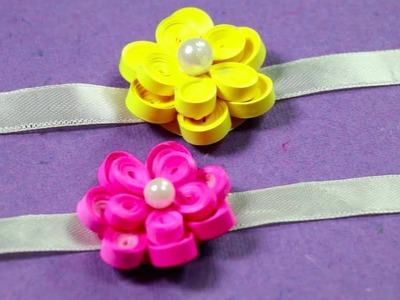 How to Make Flower Rakhi with Paper Quilling - Very Quick & Easy Rakhi Making Ideas