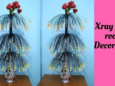 How to make flower showpiece using x ray page || Room Decoration Idea || Best out of waste