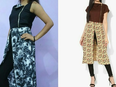 How to make front slit kurti with beautiful zipper neck| Front slit kurti easy tutorial