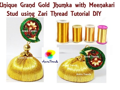 How to make Gold Jhumka at Home using Zari Thread Unique Designer Earring Tutorial DIY