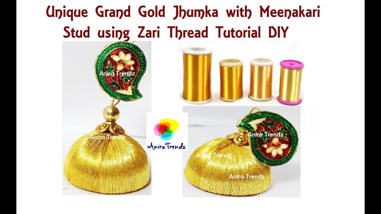 How to make Gold Jhumka at Home using Zari Thread Unique Designer Earring Tutorial DIY