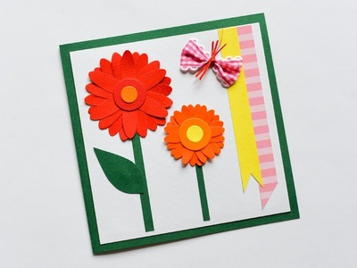 How to make : Greeting Card with Flowers | Kartka Okolicznościowa z Kwiatami - Mishellka #235 DIY