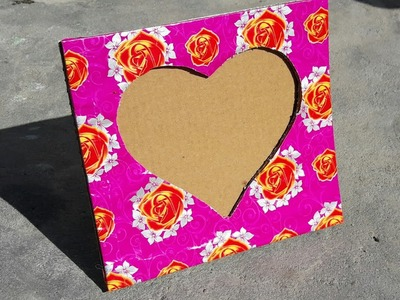 How to make heart shaped photo frame using cardboard at home