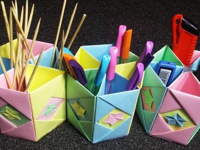 How to Make Hexagonal Paper Pen Pencil Holder | Make Your Own Pen Holder|  Easy origami pen holders.