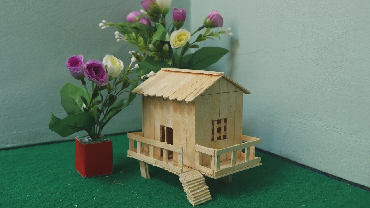 How to make ice cream stick house popsicle stick garden house how to make ice cream stick house popsicle stick garden house ccuart Choice Image
