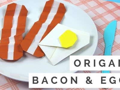 How to Make Origami Bacon & Eggs - Origami Food Tutorial - Easy Paper Crafts for Kids